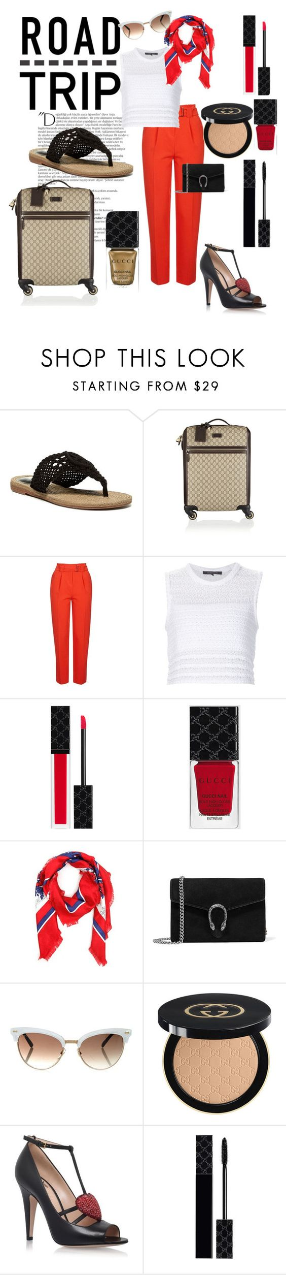 """""""Gucci"""" by teaganhunter ❤ liked on Polyvore featuring Balmain, MIA, Gucci, Topshop, Thakoon and roadtrip"""