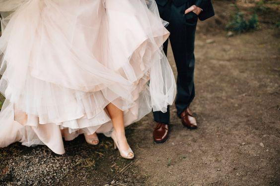 blush wedding dress. wedding shoes.