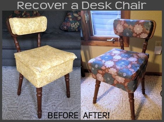 How to recover a wooden or plastic desk/office chair, by CrafterBerly on Squidoo.