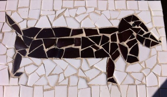 Wiener dog mosaic on Etsy, $40.00