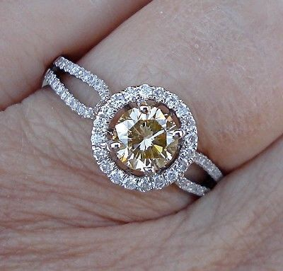 1 Carat Pave Halo VS Yellow Diamond Solitaire Engagement Ring ...