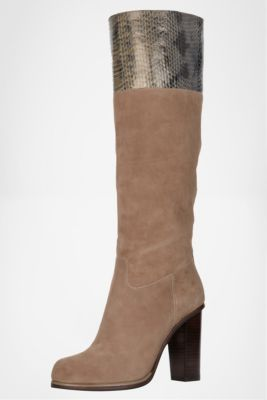 DVF | Shelly In Taupe Suede/Grey Stone Snake Print, Pre-Fall 2012: Macadam Diva