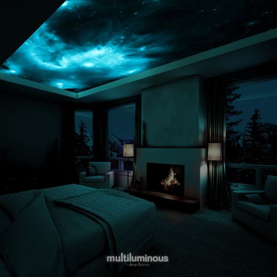 glowing space print bedroom dark ceiling decor