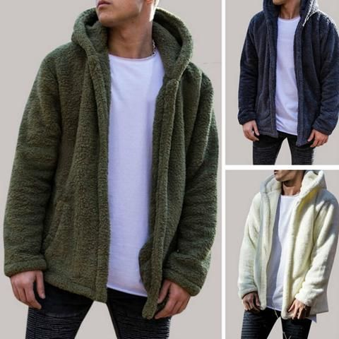 Men Winter Warm Hoodie Fluffy Fleece Hooded Jacket Sweatshirt Pullover coat