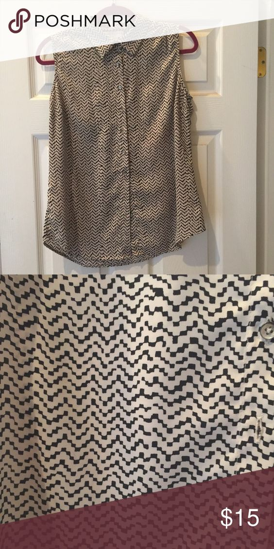 Dress blouse tank top Black and white. Size medium Tops Blouses