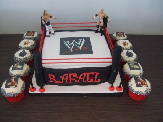 Edible Cake Images Wwe : Chocolate cake covered in fondant. The WWE symbol is an ...