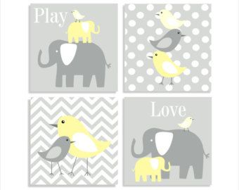 Elefanten und Vögeln, Chevron Leinwand, Kinder Wall Art, Kinderzimmer Wandkunst Kinder Canvas - Set von vier 10 x 10 gestreckt Leinwand