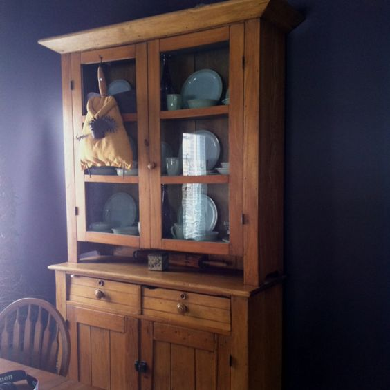 My late 1800's hutch! Had my dining table made out of barn board to match