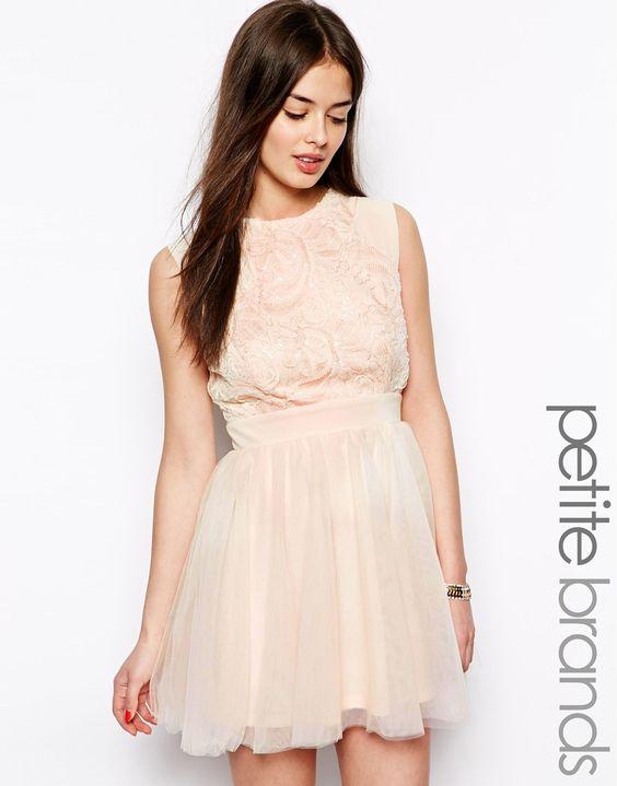 Little Mistress Petite Embellished Bodice Dress with Mesh Skirt