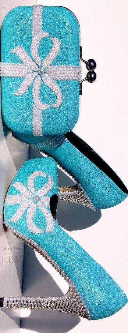 Tiffany Blue Glitter Heels + Swarovski Crystals and Pearls w matching Clutch