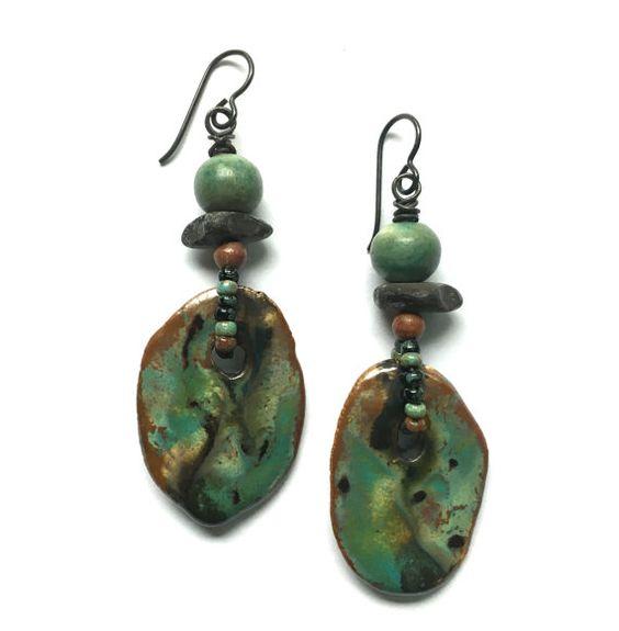 Ceramic Jewelry Rustic Earrings Unusual Earrings by SheFliesAgain