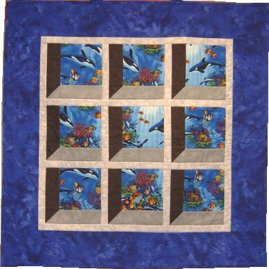 Three dimensional quilt patterns free attic window quilt for Window pane quilt design