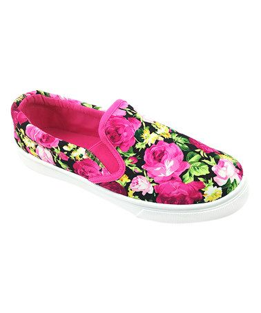 Another great find on #zulily! Fuchsia & Black Floral Slip-On Sneaker #zulilyfinds