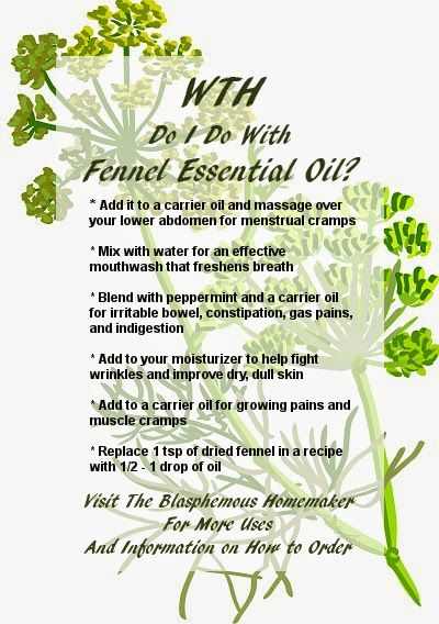 The Blasphemous Homemaker: Essential Oils Therapyessence.com recommends the following uplifting blend for diffusing:  3 drops sweet fennel eo  4 drops lemon eo  3 drops marjoram eo