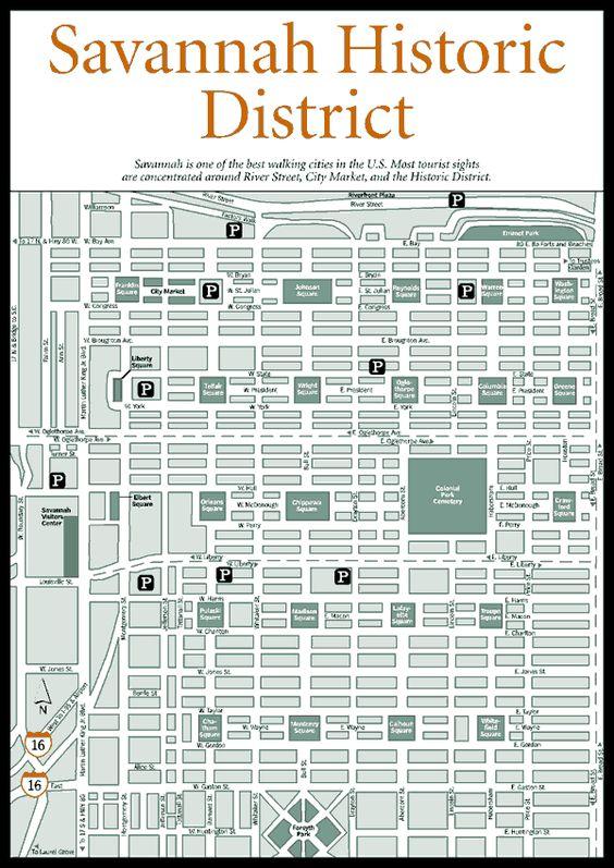 Map of Savannah Squares | ... Squares, Homes, Museums, and Churches > Savannah Historic District Map