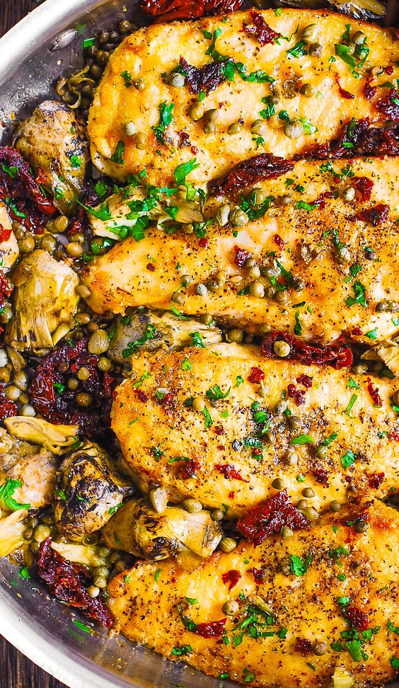 Mediterranean Chicken with Sun-Dried Tomatoes, Artichokes, and Capers
