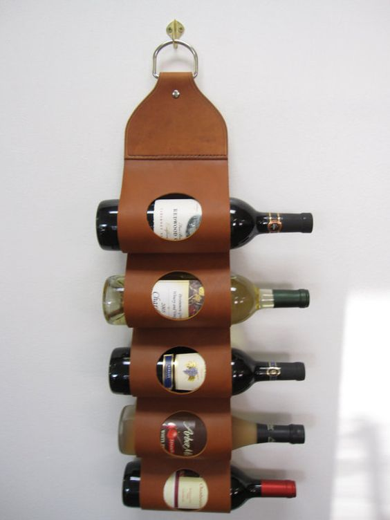 Leather Wine Rack by CircleBarT on Etsy