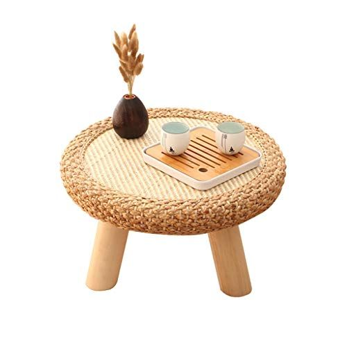 Creative Rattan Small Coffee Table Japanese Round Solid Wood