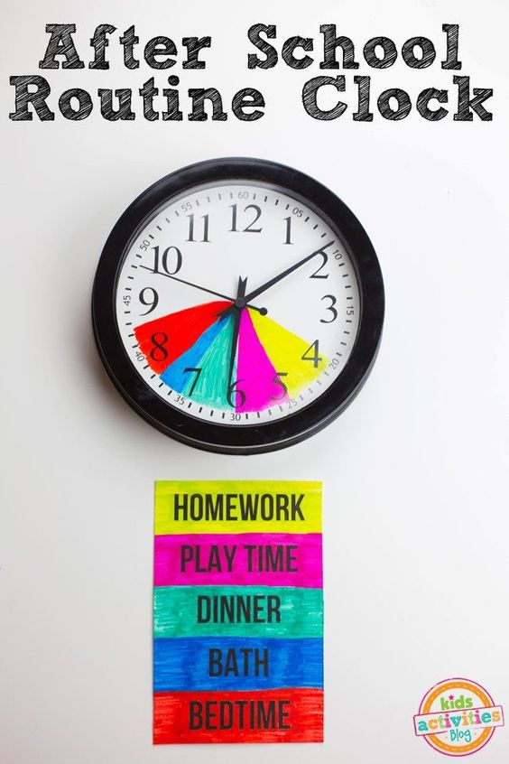 Create structure in the chaos of back-to-school season with this easy after school routine clock.  The clock is color-coded so that kids can easily follow For Home:
