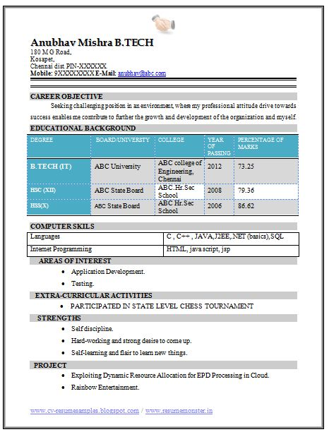 B Tech Fresher Resume Sample (IT) (1)
