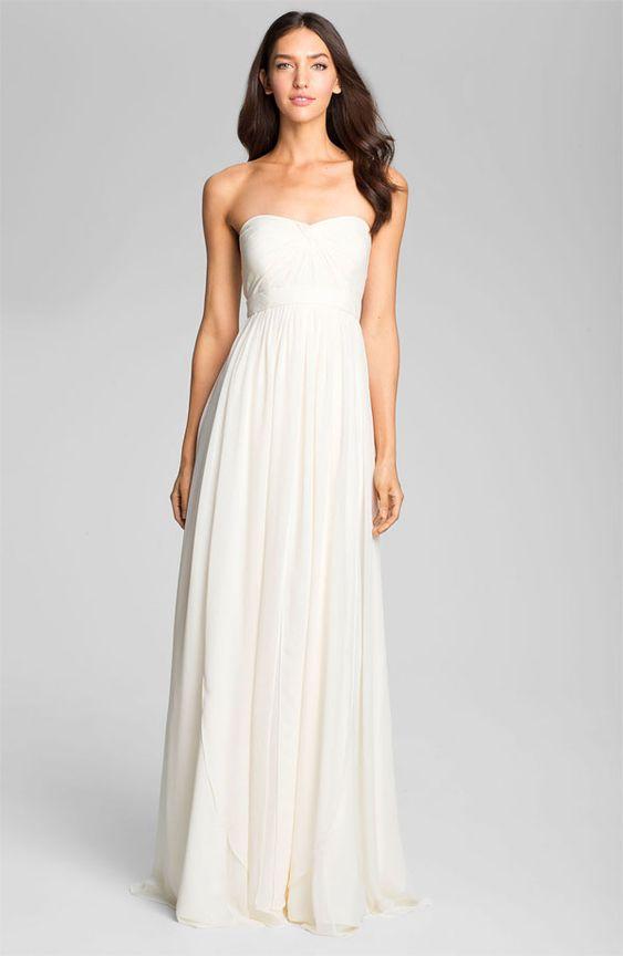 Long Sweetheart Neckline White Chiffon Dress - White Dresses ...