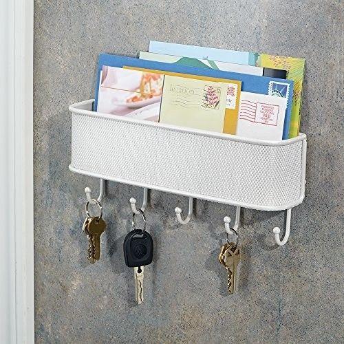 Twillo Wall Mount Mail Key Rack White Letter Holder Organizer 5 hooks InterDesig #InterDesign