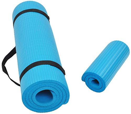 Balancefrom Goyoga All Purpose 1 2 Inch Extra Thick High Density Anti Tear Exercise Yoga Mat And Knee Pad With Carrying Strap Yoga Fitness Mat Exercises No Equipment Workout