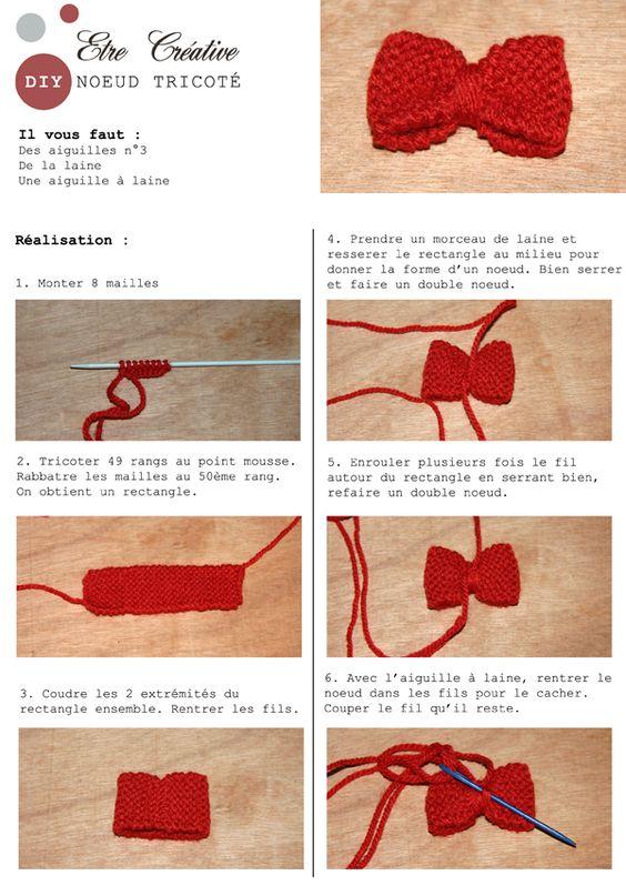 Etrecreative.fr : de jolis et simples noeuds à réaliser pour les débutantes. On peut en faire une broche, en décorer un pull ou une veste, sympa !