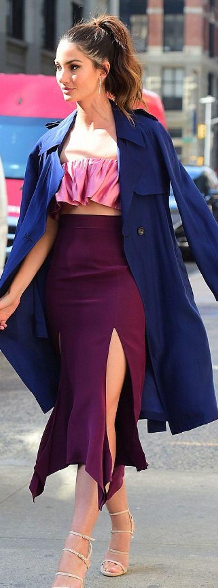 Lily Aldridge: Coat – Timo Weiland  Jewelry – Jennifer Fisher  shirt -Juan Carlos Obando