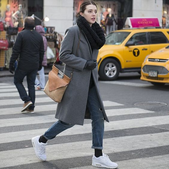 ANTHOM on the streets - long grey wool coat, nike air max, chiyome bag #streetstyle #ootd #outfit #style #ANTHOM