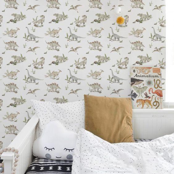 Papel de parede decoraçao quarto dinossauro da dekornik