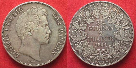 1841 Bayern BAYERN Doppeltaler 1841 LUDWIG I. Silber ERHALTUNG! # 94693 vz/vz+