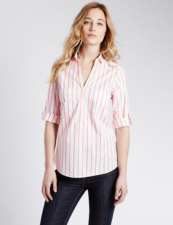 3/4 Sleeve Fuller Bust Striped Popover Shirt
