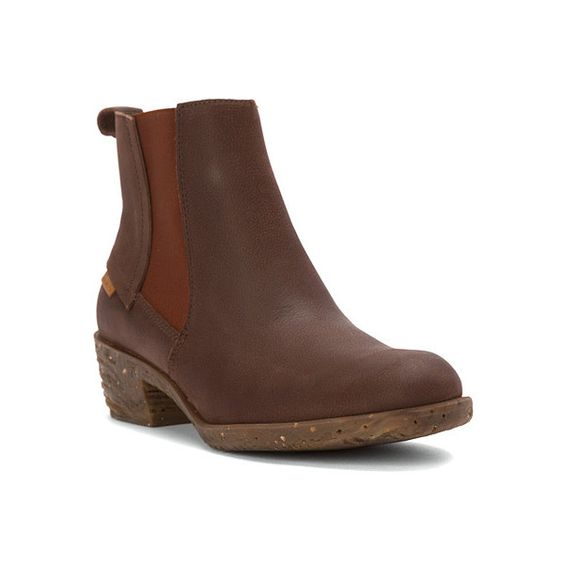 El Naturalista Quera NC54 (255 CAD) ❤ liked on Polyvore featuring shoes, boots, ankle booties, brown antique, women, brown booties, short brown boots, slipon boots, antique boots and brown ankle booties