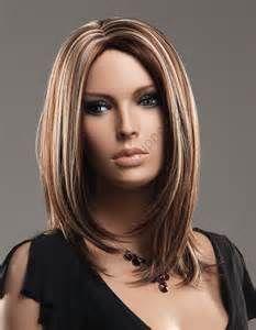 Frisur Damen Mittellang Braun Perucken Blonde Highlights Frisuren Damen Mittellang