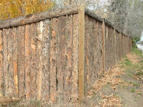Privacy Fence Made Out Of Slab Wood Landscape And