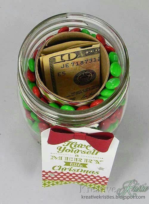 How to hide a gift (money) in a mason jar - use the roll from toilet paper: