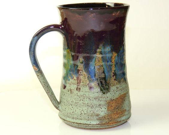 Pottery Mug in Plum Blue and Green by PrimitivePots on Etsy, $25.00