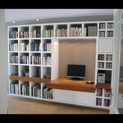 Boekenkast met bureau living idee pinterest bureaus for Bureau google