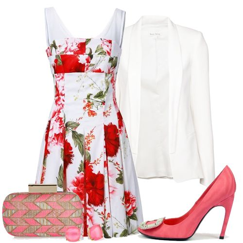 White Sheer Strap Floral Print Pleated Bodice Dress