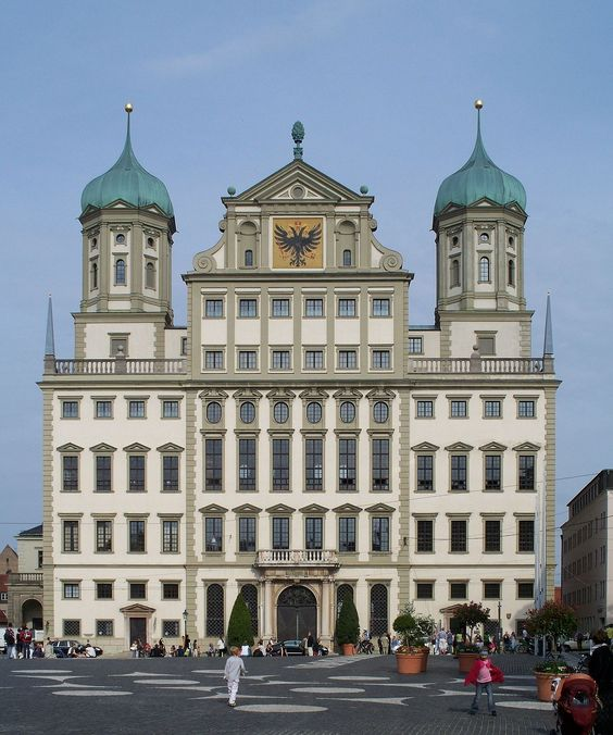 Augsburg ~ Bayern ~ Germany ~ City Hall on Maximilliam Strasse. Note the Augsburg icon atop the center peak.