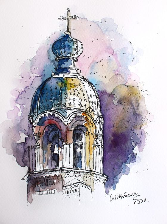 Watercolor Painting Of Cathedral 18x24 Cm Aquarella