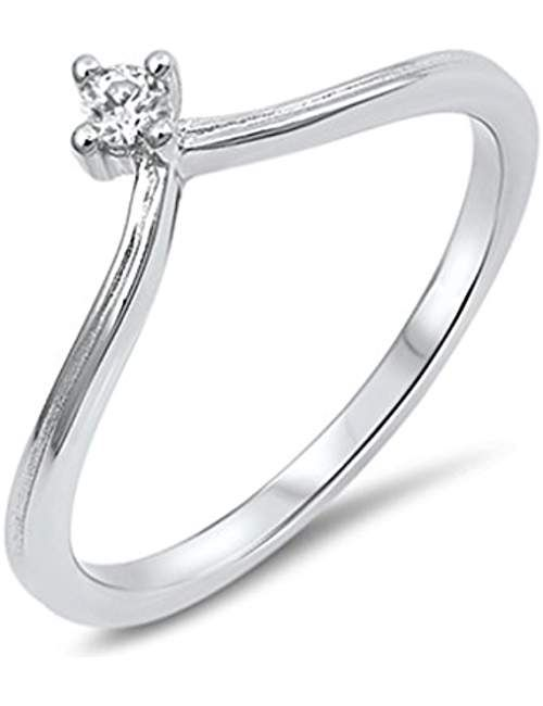 Unique V Shape Womens Promise Ring Point Round Cubic Zirconia 925 Sterling Silver Sizes 4 10 Rings Wedding Rings Jewelry