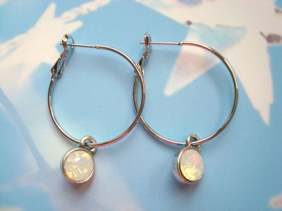 Opal white crystal earrings