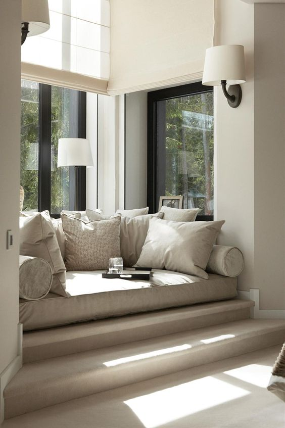 Lounge Nook windowseat on step up as long as you have the ceiling height. #windowseats