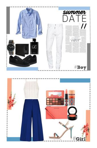 """Date"" by dilsad-cangr on Polyvore featuring Banana Republic, Dsquared2, Puma, Skagen, Perry Ellis, Giorgio Armani, men's fashion, menswear, moda ve Michael Kors"