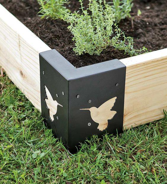 Gardens steel and raised beds on pinterest - Raised garden bed corner brackets ...
