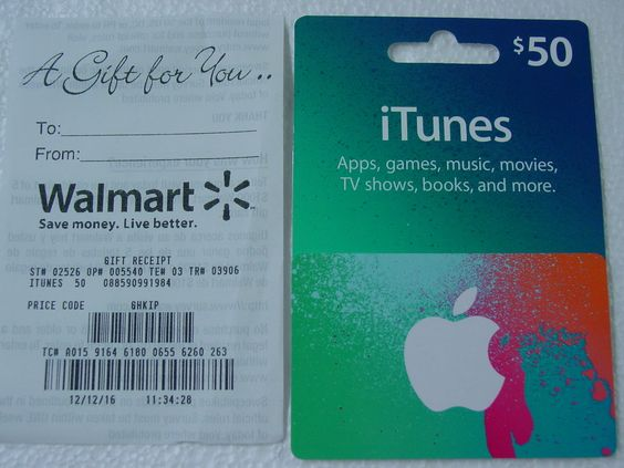 $50 iTUNES GIFT CARD WITH GIFT RECEIPT NEW UNUSED FREE SHIPPING ...
