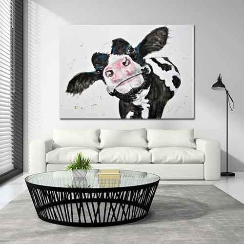 Funky Cow Canvas Art Free Usa Shipping Cow Wall Artwork Cow Wall Art Cow Canvas Wall Art Canvas Painting