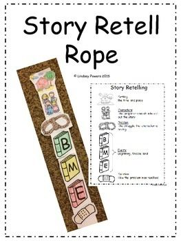 Story Retell RopeDirections: color, cut, and glue each piece onto a sentence strip to help as a visual cue for story retell: setting, characters, problem, beginning, middle, end, solution.